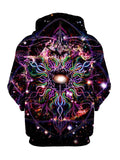 Trippy Hippie Black And Colors Pullover Hoodie Back View