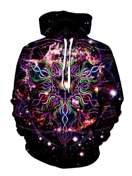 Trippy Hippie Colors And Black Pullover Hoodie Front View