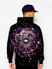 Model In Trippy Hippie Black And Colors Pullover Hoodie Back View