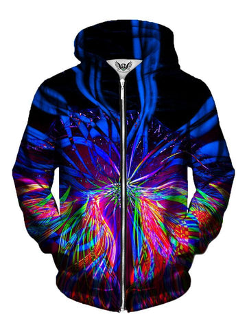 Trippy Multi Colored Stripes Zip Up Hoodie Front