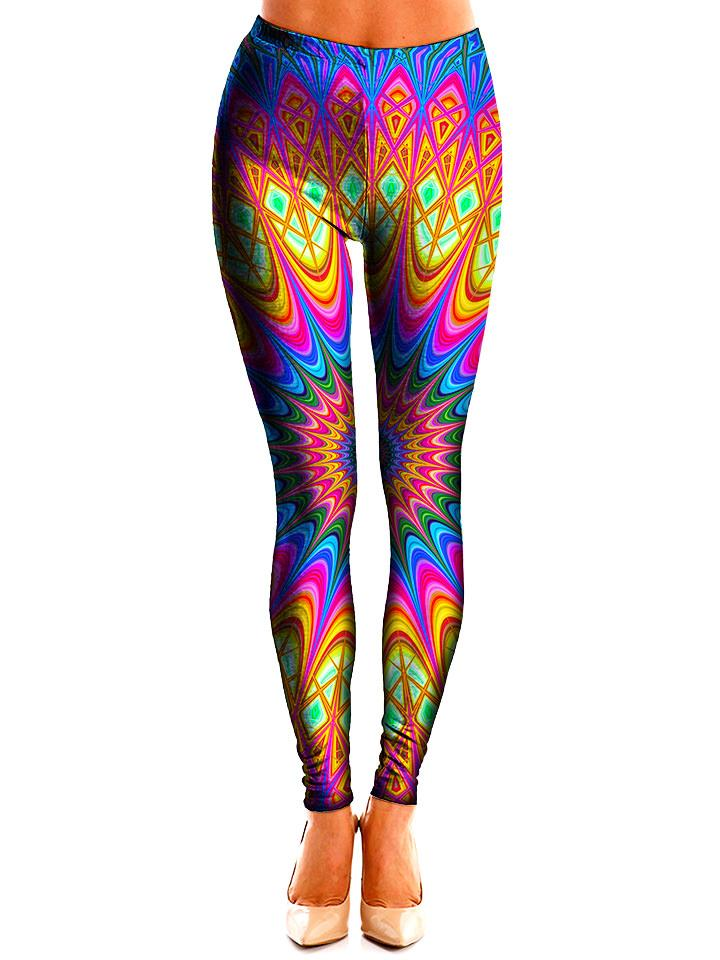 Colorful Neon Mandala Leggings Front View