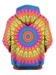 Colorful Psychedelic Mandala Pullover Hoodie Back View