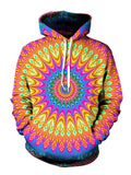 Colorful Psychedelic Mandala Pullover Hoodie Front View
