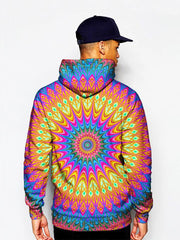 Model In Colorful Psychedelic Mandala Pullover Hoodie Back View