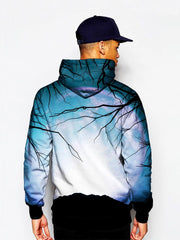 Model In Trippy Tree Branches Pullover Hoodie Back View