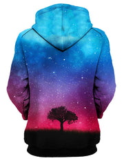 Tree Silhouette In Space Pullover Hoodie Womens Back View