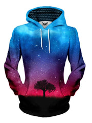 Tree Silhouette In Space Pullover Hoodie Womens Front View
