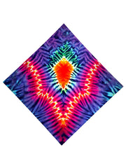 Psychedelic neon colors all over print bandana flat view