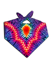 Psychedelic neon colors all over print bandana tied