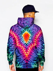 Model In Trippy Neon Colors Pullover Hoodie Back View