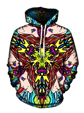 Trippy Hippie Print Pullover Hoodie Front View