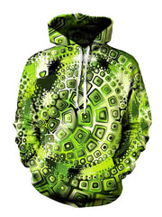 Green And Black Psychedelic Print Pullover Hoodie Front View