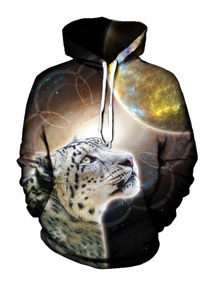 Yellow Space Leopard Pullover Hoodie Front View