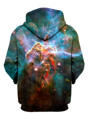 Teal Space Pullover Hoodie Back View