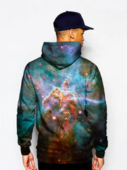 Male Model In Teal Space Pullover Hoodie Back View
