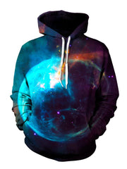 Red And Blue Trippy Space Pullover Hoodie Front View