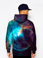 Model In Red And Blue Trippy Space Pullover Hoodie Back View