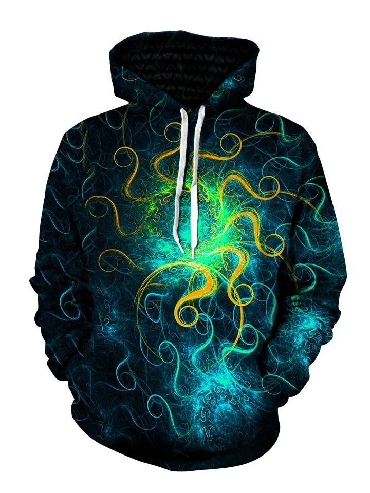 Blue Green Trippy Space Swirls Pullover Hoodie Front View