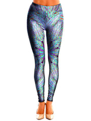 Trippy Blue Leggings Front View