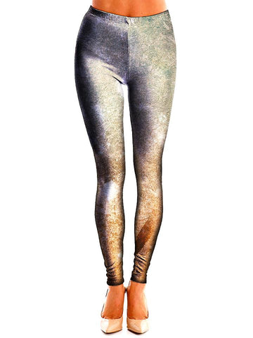 Silver Textured Leggings Front View