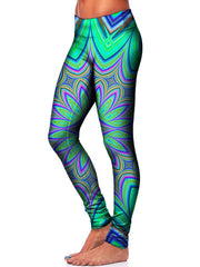 Trippy Teal Leggings Side View