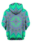 Green And Purple Psychedelic Flower Pullover Hoodie Back View