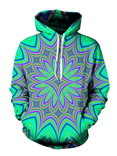Psychedelic Green And Purple Flower Pullover Hoodie Front View