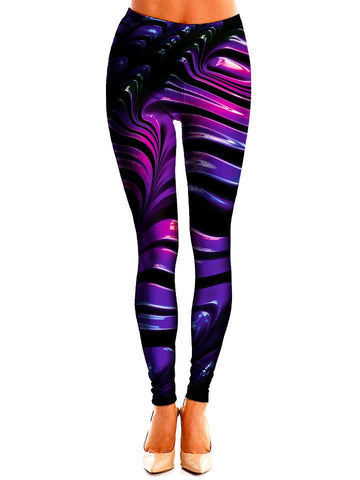 Black and Purple Leggings Front View