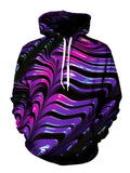 Psychedelic Pink And Purple Pullover Hoodie Front View