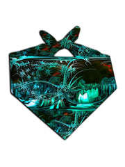 All over print green alien galaxy bandana by GratefullyDyed Apparel tied neck scarf view.