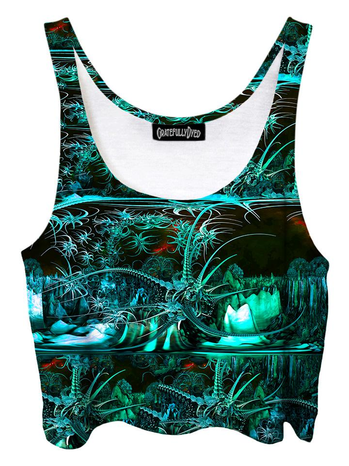 Trippy front view of GratefullyDyed Apparel black & green alien galaxy crop top.
