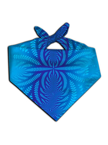 All over print blue sound wave mandala bandana by GratefullyDyed Apparel tied neck scarf view.