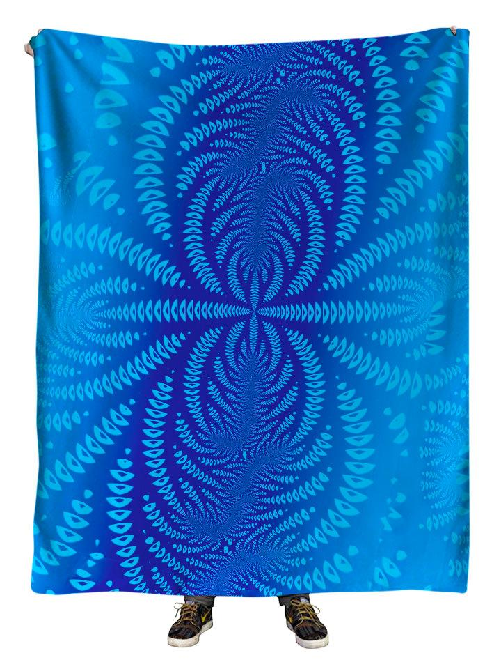 Hanging view of all over print blue sound wave mandala blanket by GratefullyDyed Apparel.