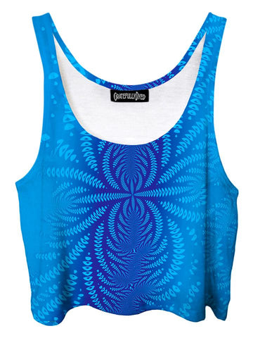 Trippy front view of GratefullyDyed Apparel blue sound wave fractal crop top.