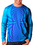Front view of model wearing Gratefully Dyed Apparel sound wave mandala unisex long sleeve.