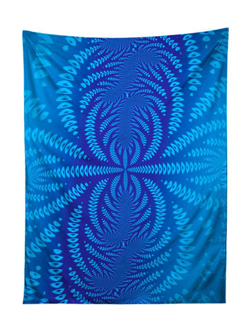 Vertical hanging view of all over print blue sound wave mandala tapestry by GratefullyDyed Apparel.