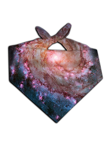 All over print pink spiral galaxy bandana by GratefullyDyed Apparel tied neck scarf view.