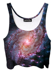 Trippy front view of GratefullyDyed Apparel pink & black spiral galaxy crop top.