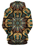 Rear of women's purple, yellow, blue, brown & black retro mandala hoody.