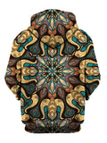 Back view of all over print psychedelic sacred geometry hoody.