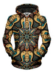 Women's front view of trippy retro mandala pullover hoodie.