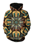 Men's purple, yellow, blue, brown & black retro mandala pullover hoodie front view.