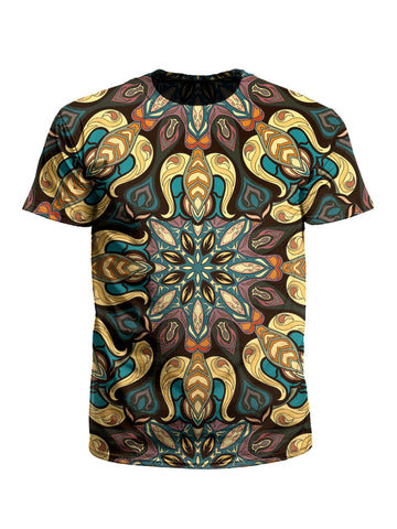 Men's yellow, purple & blue mandala unisex t-shirt front view.