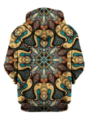 Rear of yellow, blue & purple retro mandala zip-up hoody.