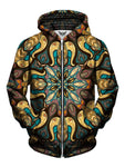 Men's yellow, blue & purple retro mandala zip-up hoodie front view.
