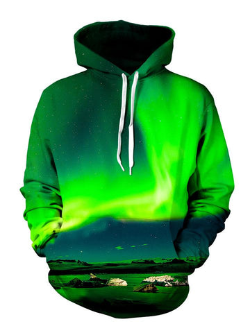 Green Borealis Pullover Hoodie Front View