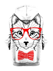 Animated kitty with red glasses and bow tie pullover hoodie back view