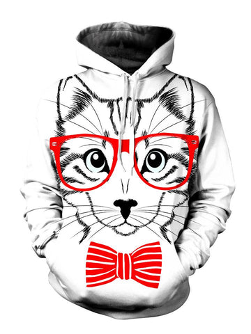 Animated kitty with red glasses and bow tie pullover hoodie front view