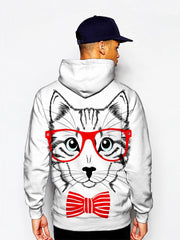 Model in animated kitty with red glasses and bow tie pullover hoodie