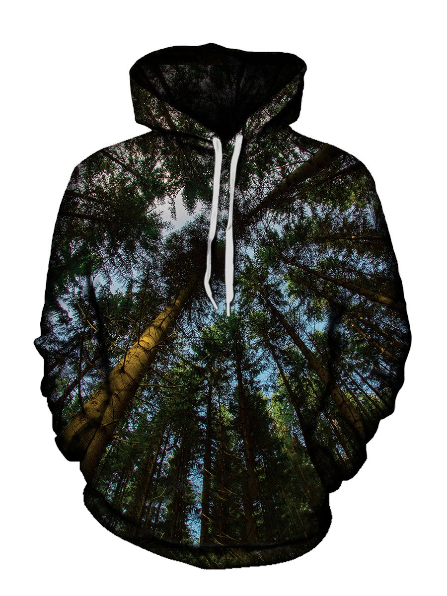 Trippy Worms Eye View Forest Hoodie Front View